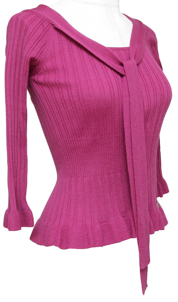 CHRISTIAN DIOR Sweater Knit Top Magenta Scoop Neck Tie 3/4 Sleeve Sz 36 4 - Evesherfashion