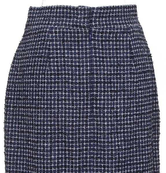 CHANEL Tweed Skirt Navy White Black Knee Length Pencil Pockets Gunmetal Sz 38 - Evesherfashion