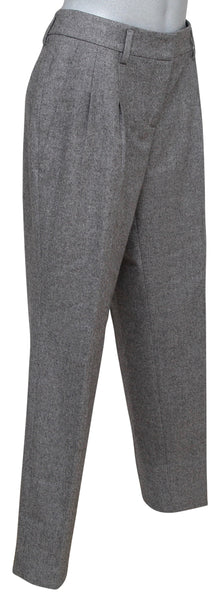AKRIS PUNTO Pant Straight Leg Wool Grey Pleated Sz US 10 F 42 - Evesherfashion