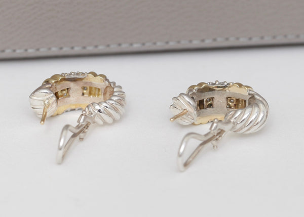 DAVID YURMAN 18K Gold Earrings Diamonds Shrimp Sterling Silver Pierced - Evesherfashion