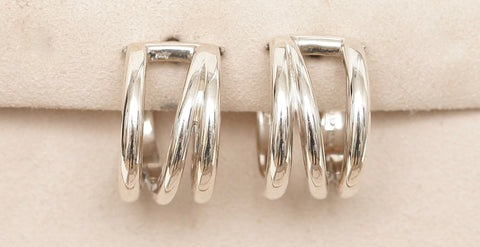 TIFFANY & CO. Sterling Silver CROSSOVER Hoop Earrings - Evesherfashion