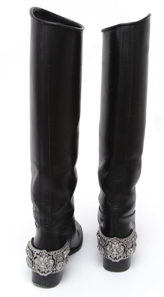 CHANEL Black Leather Riding Boot Knee High Silver HW Spurs Sz 38 - Evesherfashion