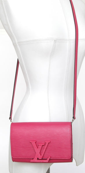 LOUIS VUITTON EPI Leather Bright Pink LOUISE PM Bag Clutch Crossbody Baguette - Evesherfashion