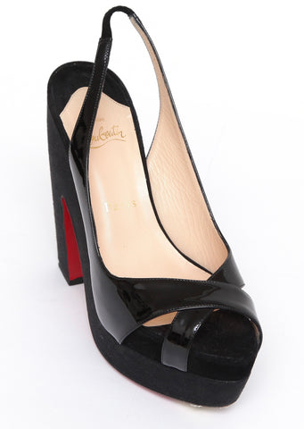 CHRISTIAN LOUBOUTIN Black Patent Leather Platform Sandals Sz 37 - Evesherfashion