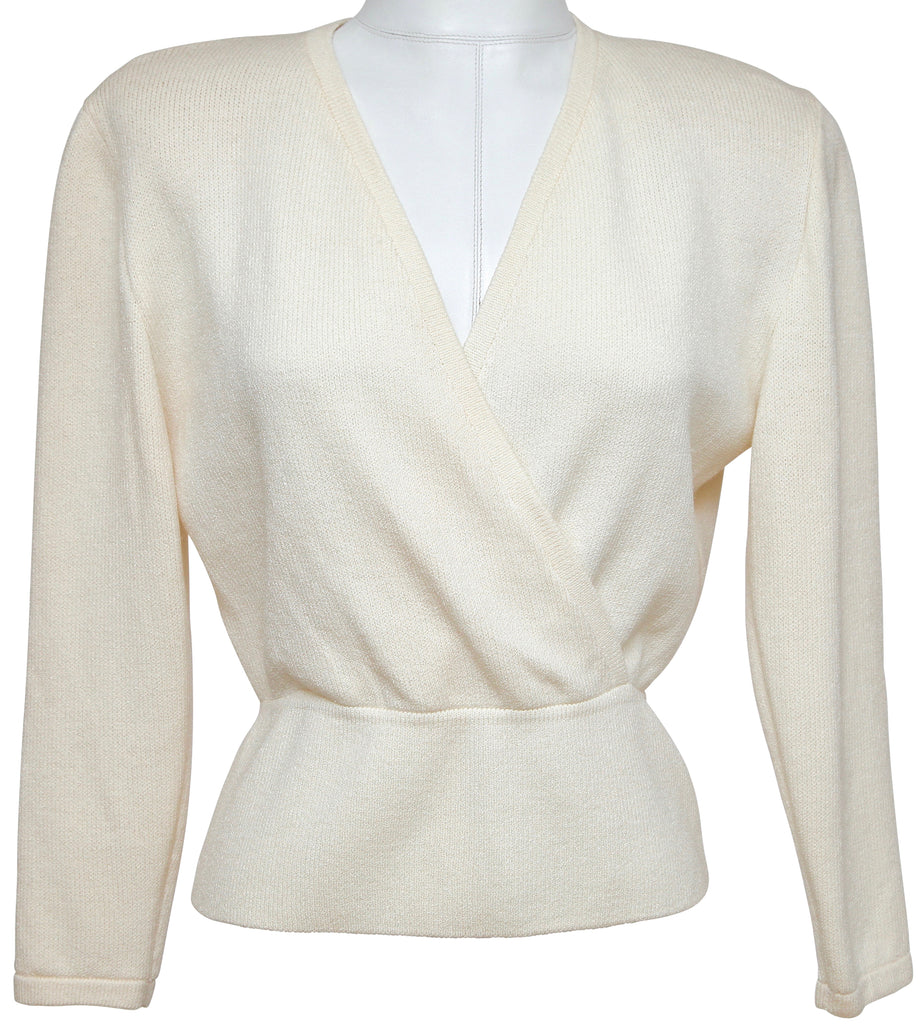 ST. JOHN BASICS Sweater Knit Top Pullover Ivory V-Neck Long Sleeve Sz S - Evesherfashion