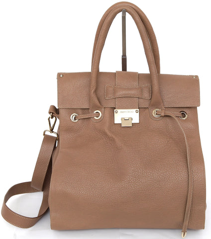 JIMMY CHOO Bag Tan Leather Large ROSABEL Satchel Tote Shoulder Strap Gold HW - Evesherfashion