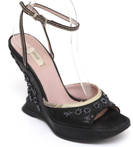 PRADA Black Platform Wedge Sandal Nu-Buck Suede Leather Beaded Snakeskin 36.5 - Evesherfashion