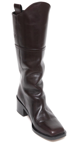a7b07e9f9493 64% off CHANEL Brown Leather Knee High Riding Boot Heel Pull On Square Toe  Sz 38.5 2014 -