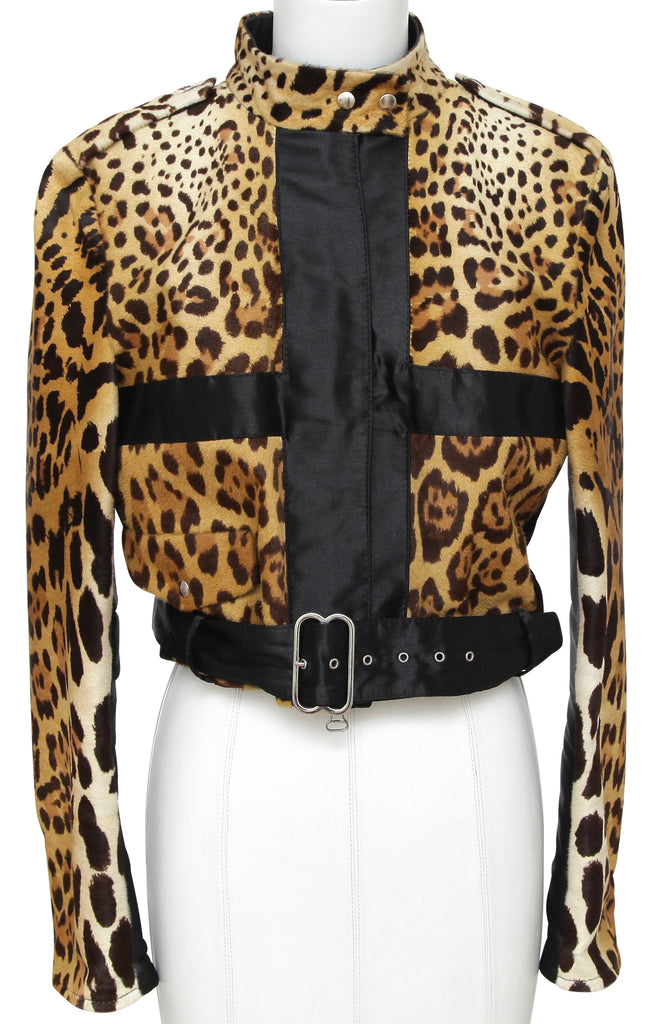 GIANFRANCO FERRE Jacket Moto Coat LEOPARD Black Silk Long Sleeve Zipper Sz 40 - Evesherfashion