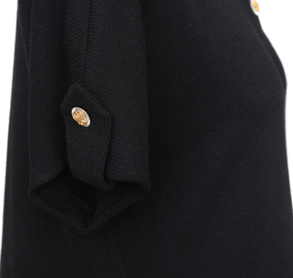 ST. JOHN COLLECTION Black Cardigan Knit Sweater Gold Silver Buttons Sz 8 - Evesherfashion