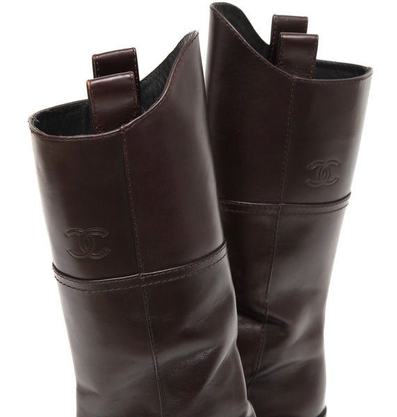 CHANEL Brown Leather Knee High Riding Boot Heel Pull On Square Toe Sz 38.5 2014 - Evesherfashion