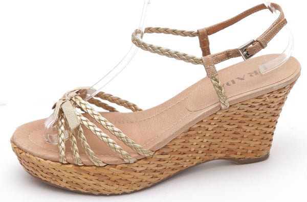 PRADA Wedge Sandal Gold Leather Metallic Espadrille Bow Strappy Sz 37 - Evesherfashion