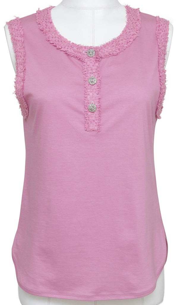CHANEL Top Shirt Sleeveless Pink Silver CC Buttons Tweed Trim Sz 38 Spring 2012 - Evesherfashion