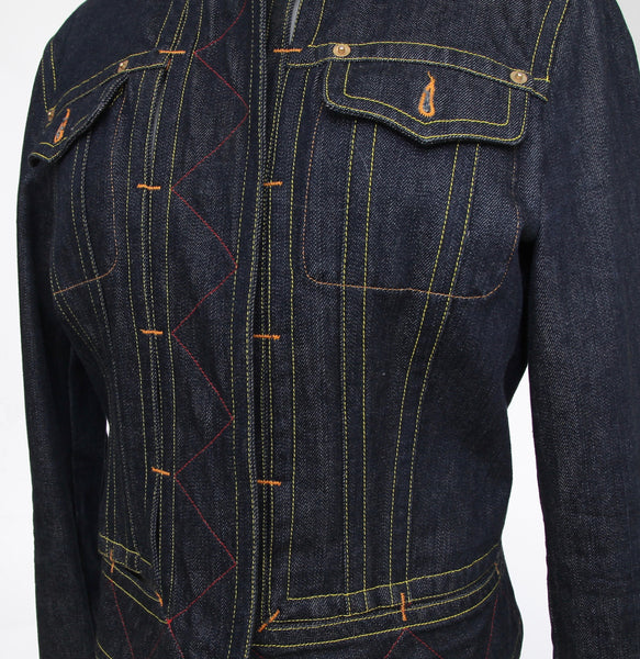 GIANFRANCO FERRE Denim Jacket Dark Blue Coat Collarless Long Sleeve Snap Closure Sz 44 - Evesherfashion