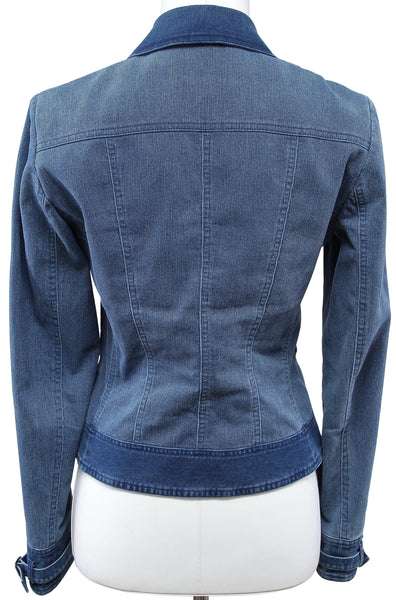 JOHN GALLIANO Jacket Coat Blue Cotton Corduroy Denim Jean Sz 4 VINTAGE - Evesherfashion
