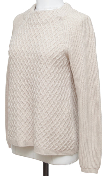 MAX MARA Sweater Pullover Beige Long Sleeve Moc Turtleneck Sz S - Evesherfashion