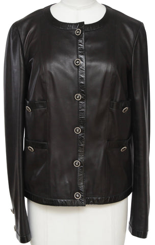 CHANEL Black Leather Patent Jacket Blazer Collarless Silver Long Sleeve 40 2007 - Evesherfashion