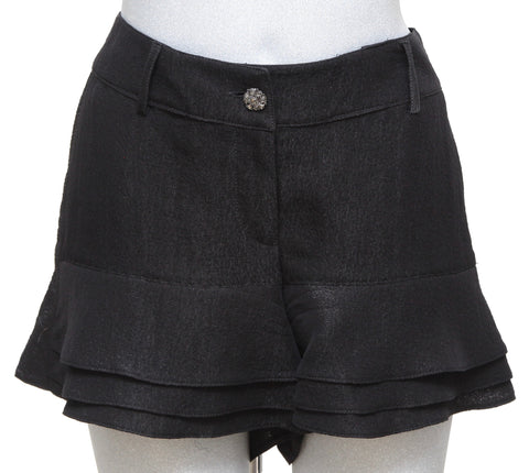 CHANEL Black Shorts Gripoix Button Gunmetal HW Tiered Ruffle Sz S Spring 2012 - Evesherfashion