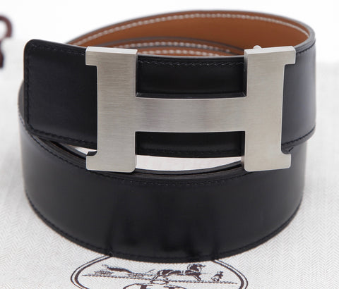 HERMES Belt Buckle Black Palladium Reversible H CONSTANCE Gold Leather 42mm 85 - Evesherfashion