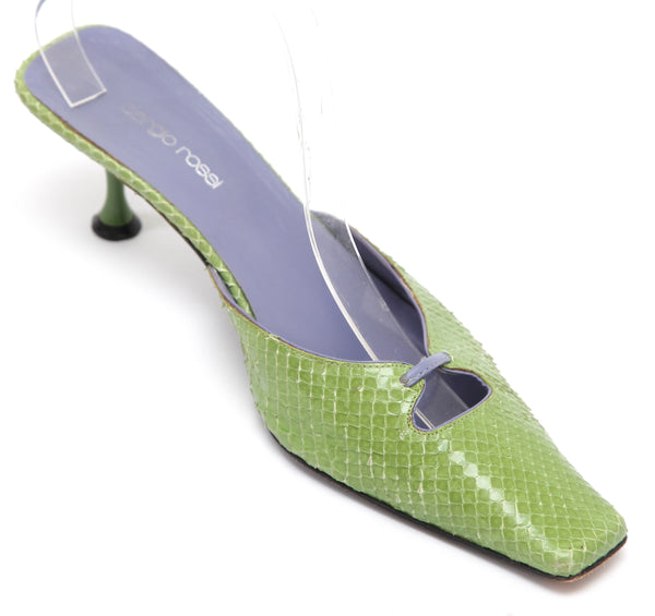 SERGIO ROSSI Mule Pump Sandal Slide Green Snakeskin Leather Square Toe 38.5 - Evesherfashion