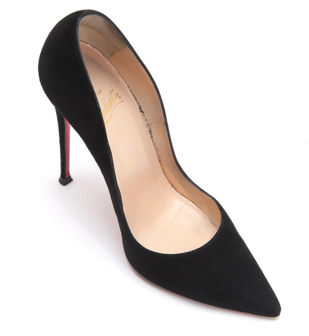 CHRISTIAN LOUBOUTIN Black Suede Leather Pump SO KATE 120 Pointed Toe 38 - Evesherfashion