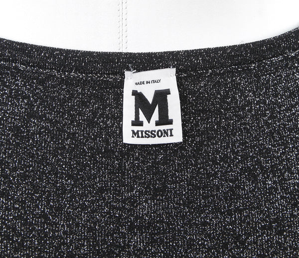 M MISSONI Skirt Black Silver Metallic Mini Tube Sz 40 - Evesherfashion