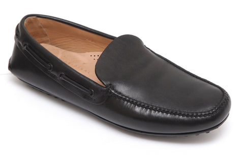 THE ORIGINAL CAR SHOE by PRADA Men's Black Leather Loafer Moccasin Flats 7 - Evesherfashion