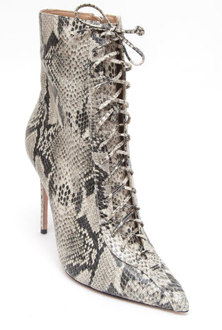 SCHUTZ Ankle Boot Leather Pointed Toe ANAIYA Snake Print Lace Up Sz 8B NEW - Evesherfashion