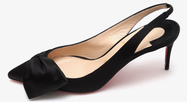 CHRISTIAN LOUBOUTIN Black Satin Slingback KIRAZISSIMO Pump 70 Pointed Toe Sz 38 - Evesherfashion