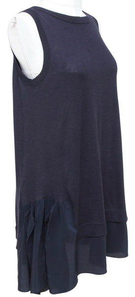 MIU MIU Sweater Knit Top Tunic Cotton Navy Blue Silk Sleeveless Sz 38 - Evesherfashion