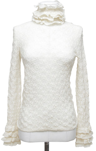 CHANEL Turtleneck Sweater Knit Top Ecru Ivory Long Sleeve Wool Sz 36 NWT $2400 - Evesherfashion