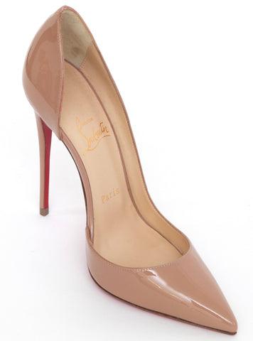 CHRISTIAN LOUBOUTIN Nude Patent Leather Pump SO KATE 120MM D'Orsay 37.5 NEW - Evesherfashion