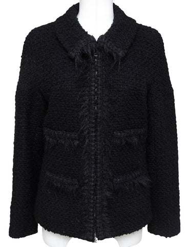 CHANEL Black Jacket Blazer Wool Boucle Zipper Silver CC RUNWAY Sz 42 Fall 2010 - Evesherfashion