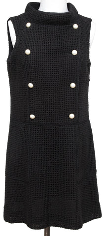 CHANEL Black Dress Knit Mesh Sleeveless Faux Pearls Sz 40 13S 2013 - Evesherfashion