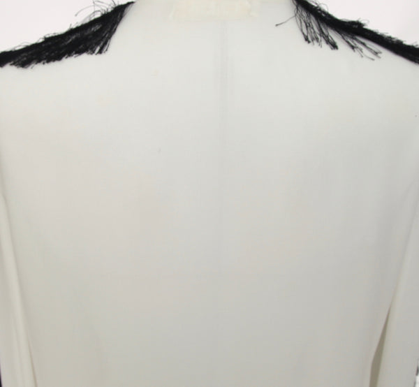 CHLOE Blouse Shirt Long Sleeve Ivory Black Viscose Silk Fringe Sz 36 - Evesherfashion
