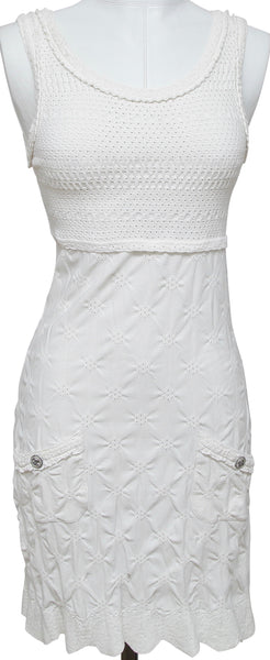 CHANEL White Knit Dress Pointelle Sleeveless Knee Length Silver 36 Cruise 2011 - Evesherfashion
