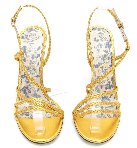 GUCCI Sandal Metallic Gold Leather HAINES Strappy Floral Sz 38 NEW - Evesherfashion