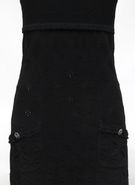 CHANEL Black Knit Dress Pointelle Sleeveless Knee Length Silver 36 Cruise 2011 - Evesherfashion