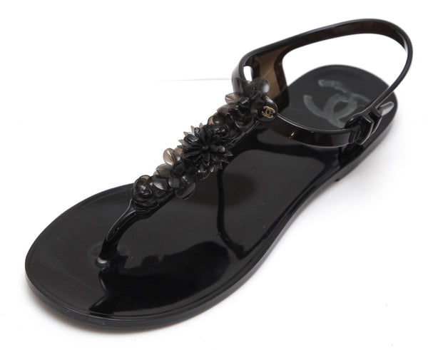 CHANEL Sandal Camellia Jelly Black Thong Buckle Rubber Leather Sz 38 2016 - Evesherfashion