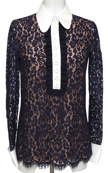 MICHAEL KORS COLLECTION Navy Blouse Shirt Foral Lace Long Sleeve Beige Sz 2 BNWT - Evesherfashion