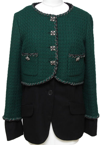 CHANEL Blazer Jacket Vest 2pc Tweed RUNWAY Black Green Gripoix Chain Sz 44 2011 - Evesherfashion