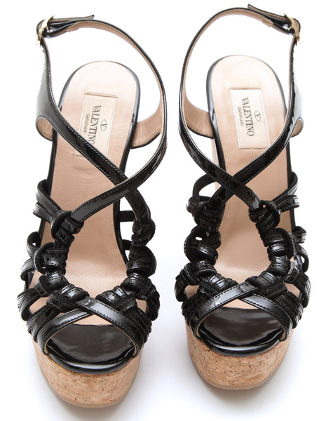 VALENTINO Black Patent Leather Wedge Sandal Platform 37 NIB $675 - Evesherfashion