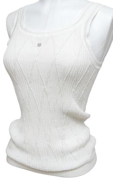 CHANEL White Sleeveless Knit Sweater Tank Top Cami Silver CC Crystals 40 2012 - Evesherfashion
