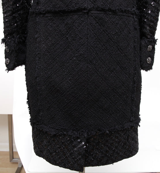 CHANEL Black Dress Cotton Sequin Paillette Long Sleeve Gripoix Sz 38 2015 - Evesherfashion
