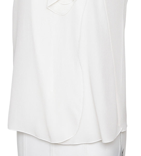 MIU MIU Top Blouse Shirt Sleeveless Silk Ivory Ruffle Sz 36 BNWT - Evesherfashion
