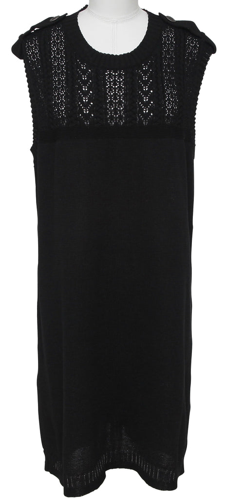 CHANEL Dress Knit Sweater Cotton Black Sleeveless Crew Neck Sz 48 Spring 2016 - Evesherfashion