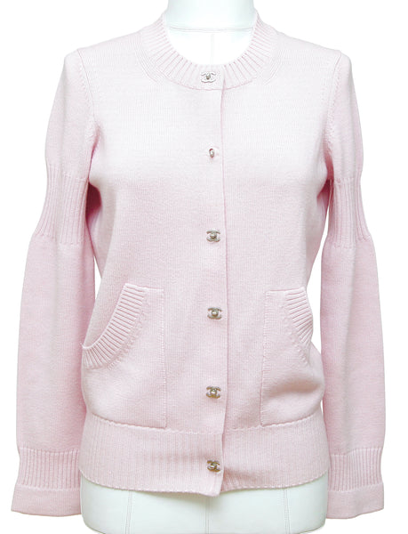 CHANEL Cardigan Sweater Pink Cashmere Silver-Tone CC Buttons Sz 36 Fall 2015 - Evesherfashion