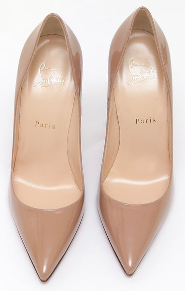 CHRISTIAN LOUBOUTIN Beige Nude Patent Leather Pump SO KATE 120 Pointed 38 NEW - Evesherfashion