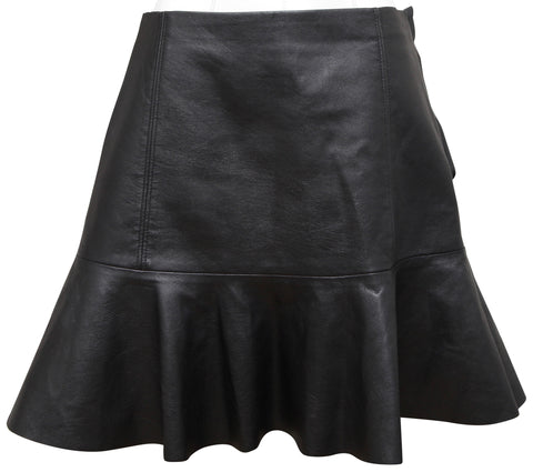 REBECCA TAYLOR Black Leather Mini Skirt Flared Hem Sz 4 - Evesherfashion