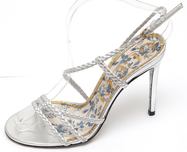 GUCCI Sandal Metallic Silver Leather HAINES Strappy Floral Sz 38 - Evesherfashion